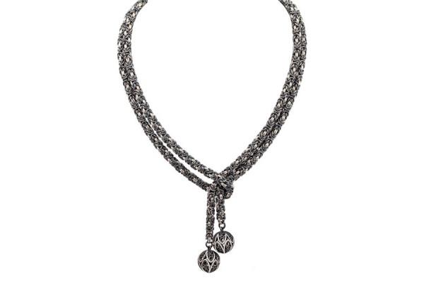 Серебряная цепь Галстук Королевская роза
