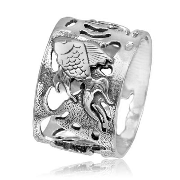 Кольцо из серебра 925 пробы Рыбки