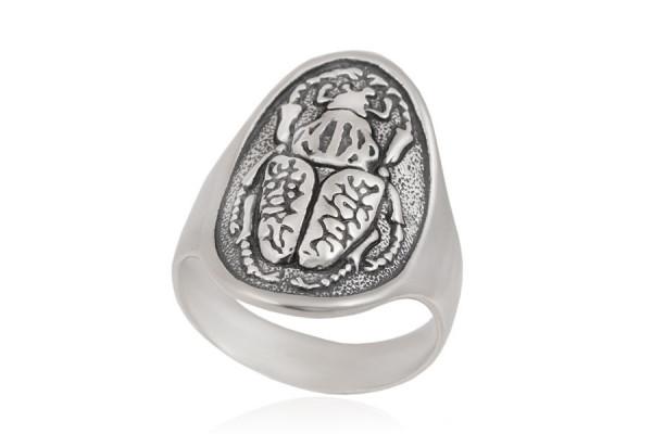 Кольцо Скарабей из серебра 925 пробы