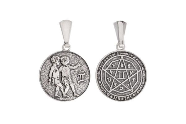 Двухсторонний серебряный кулон Знак зодиака Близнецы