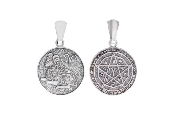 Двухсторонний серебряный кулон Знак зодиака Овен