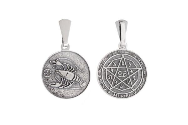 Двухсторонний серебряный кулон Знак зодиака Рак