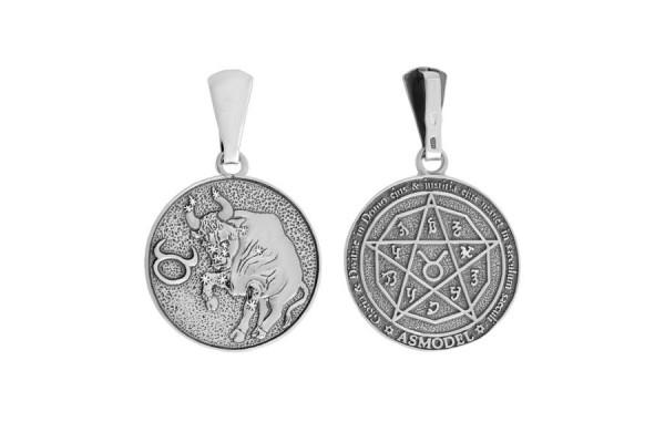 Двухсторонний серебряный кулон Знак зодиака Телец