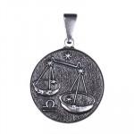 Двухсторонний серебряный кулон Знак зодиака Весы