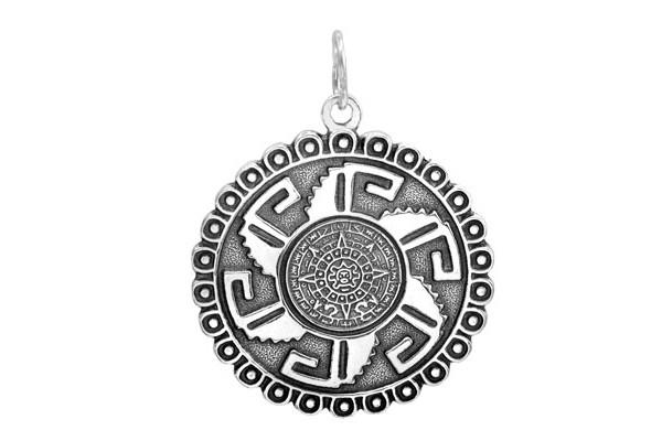 Кулон из серебра 925 пробы  календарь Майя
