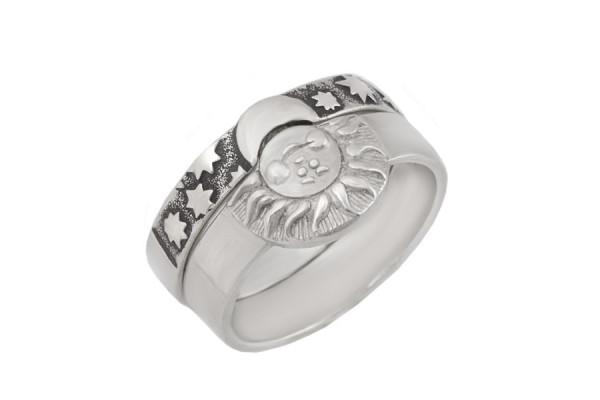 Кольцо из серебра 925 пробы Солнце Луна
