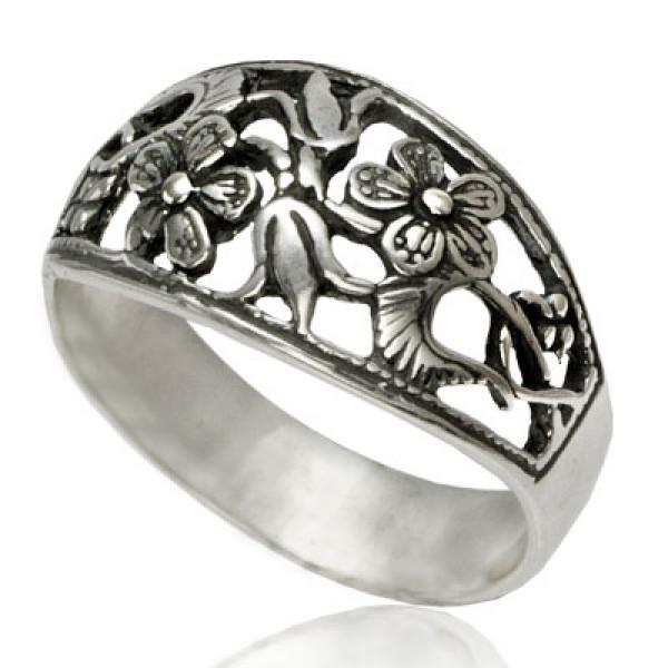 Кольцо из серебра 925 пробы Незабудки