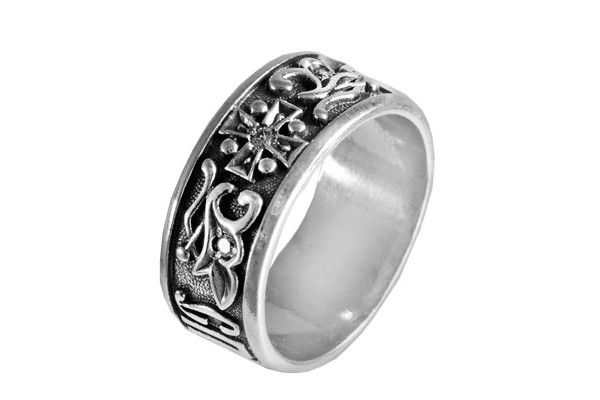 Кольцо из серебра 925 пробы Спаси и Сохрани