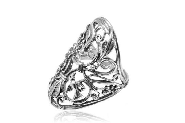 Кольцо из серебра 925 пробы Птички
