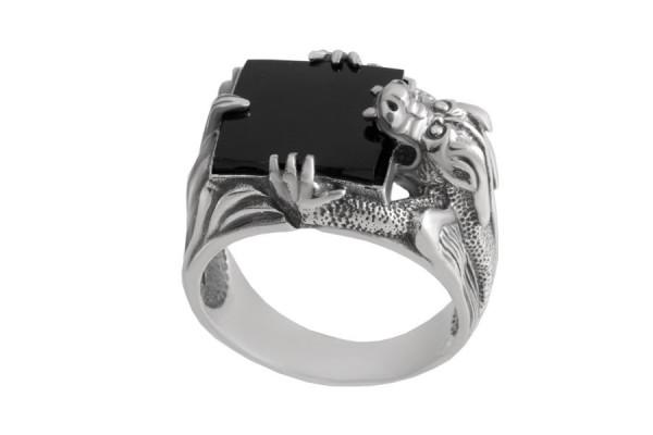 Серебряная печатка Дракон (Вставка Лидит)