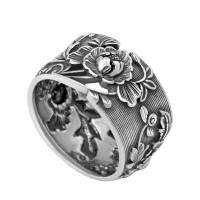 Серебряное кольцо Пион