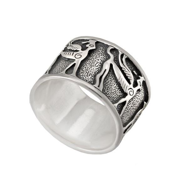 """Серебряное кольцо """"Пегасы"""""""