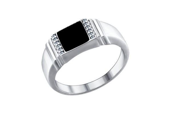 Кольцо из серебра 925 пробы с фианитами (эмаль)