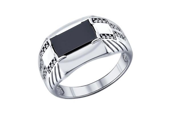 Кольцо из серебра 925 пробы с фианитами и ониксом