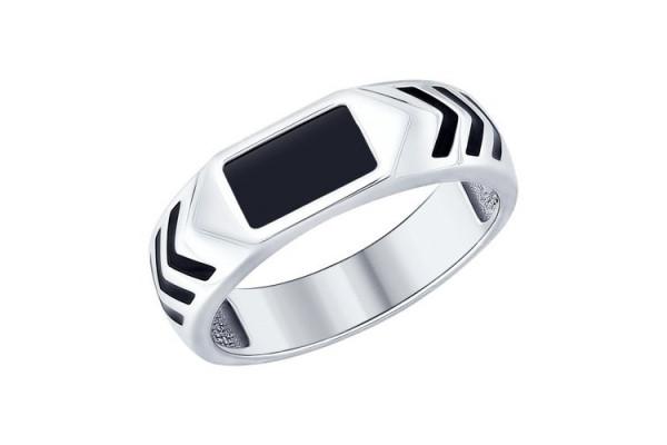 Кольцо из серебра 925 пробы с ониксом (эмаль)