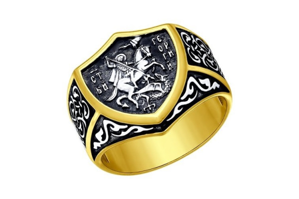 Кольцо из серебра 925 пробы Георгий Победоносец