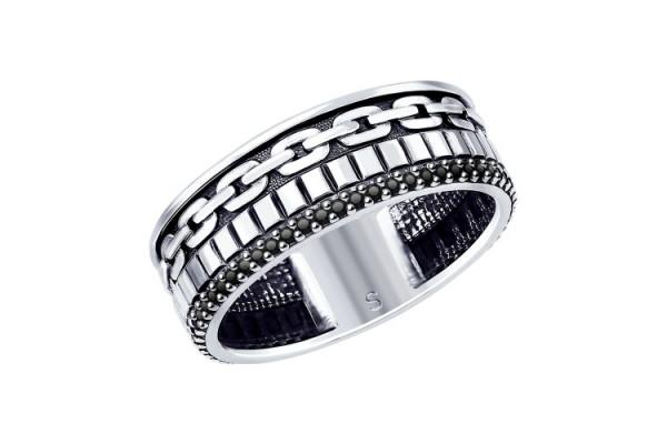 Кольцо из серебра 925 пробы с черными фианитами