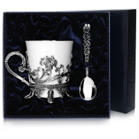 """Серебряная чайная чашка """"Цветочная"""" с ложкой"""