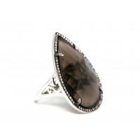 Кольцо из серебра 925 пробы с дымчатым кварцем