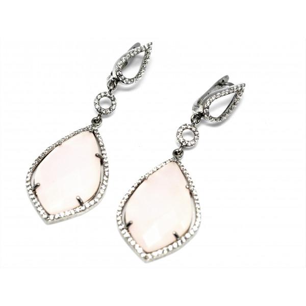 Серьги из серебра 925 пробы с розовым кварцем