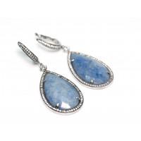 Серьги из серебра 925 пробы с голубым кварцем