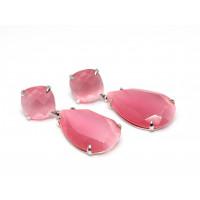 Серьги из серебра 925 пробы с розовым кошачьим глазом