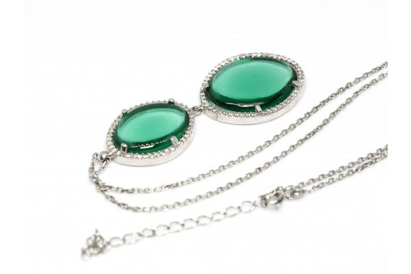 Колье с подвеской из серебра 925 пробы,вставка зеленый кварц,цирконы