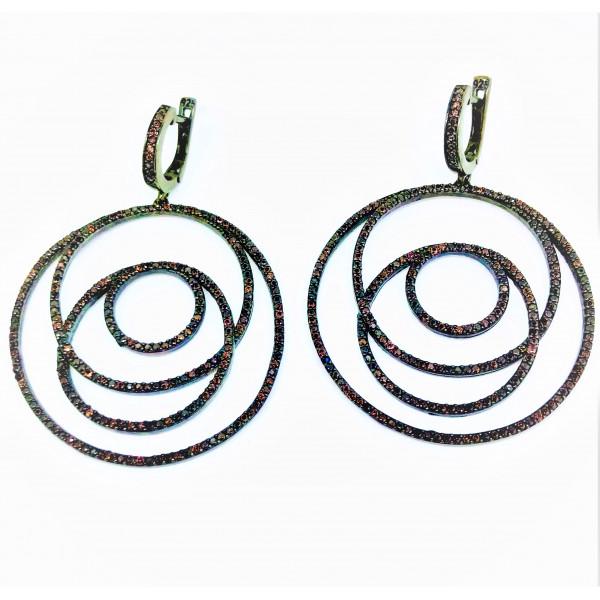 Серьги из серебра 925 пробы с Коньячными цирконами