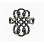 Кольцо из серебра 925 пробы с Коньячными цирконами